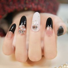 New 2013 japanese 3d nails black french manicure oval form long design salon fake nail free shipping  02 $12.90