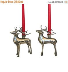 ON SALE Silver Chrome Deer Candle Holder by WeeLambieVintage