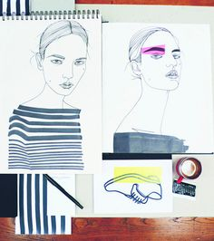 Fashion Illustration - by Liselotte Watkins - monstylepin #fashion #illustration #sketch #pen #pencil #stripes #beauty