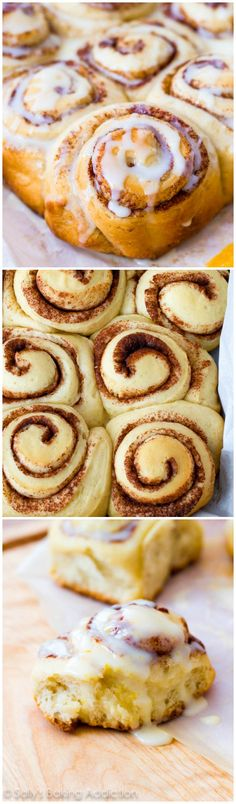 Fluffy Cinnamon Rolls with sweet orange glaze! A copycat recipe of Pillsbury Orange Sweet Rolls. my mouth is watering Just Desserts, Delicious Desserts, Dessert Recipes, Yummy Food, Orange Sweet Rolls, Scones, Sallys Baking Addiction, What's For Breakfast, Sweet Bread