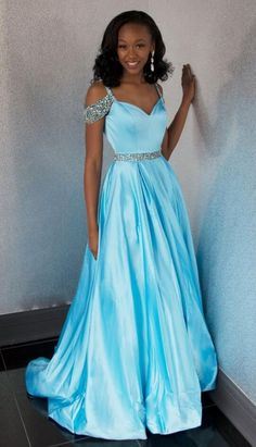 Off Shoulder Blue Prom Dress,Beaded A-line Prom Dress,Sexy