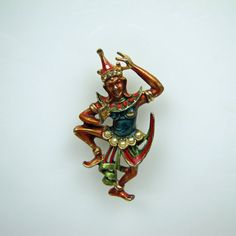 This fabulous signed ART figural Thai male dancer brooch is both rare and highly collectible. He does have some issues and is priced accordingly,  $30 (w/ issues)