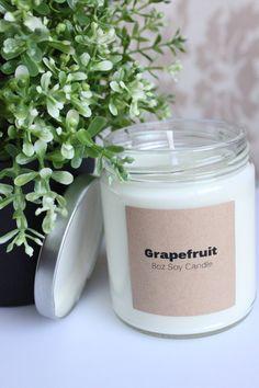 Grapfruit Soy Candle 8oz, Handmade