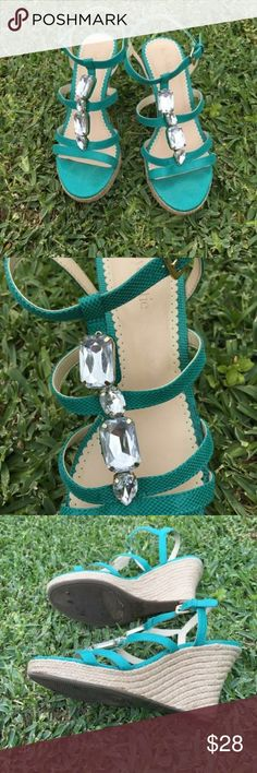 Kelly and Katie wedge sandals lively turquoise blue with decorative stones.  worn 1 time to a wedding.  TTS.  4 in wedge Kelly & Katie Shoes Sandals
