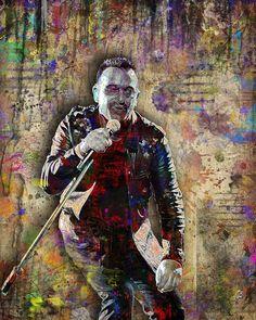 Bono Poster, U2 Portrait Gift, Bono of U2 Colorful Layered Tribute Fin                      – McQDesign