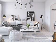 Décoration blanche dans un appartement rénové