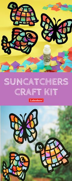 Kids will love creating with our Suncatchers Craft Kit! Simply glue colored tissue paper squares onto animal shapes to make adorable suncatchers!