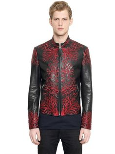 CORAL EMBROIDERED LEATHER JACKET