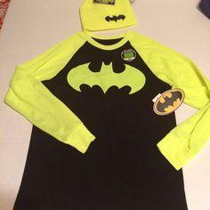 DC Comics Batman Black Shirt with Neon Long Sleeves Glow in the Dark ink +Beanie #DCComics #Everyday
