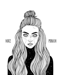 Herzmensch.  Illustration by Laura Klinke.  Instagram: lauraklinke_art  #illustration #art #design #fineliner #linework #hair #girl #stars #night