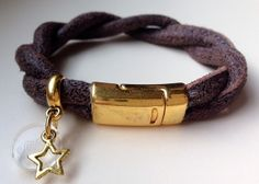 Dark brown stitched leather bracelet with by SillySilver on Etsy, €12.95