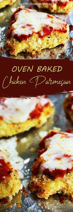 Easy, delicious and savory recipes for oven baked chicken parmesan. Let's try this amazing recipe at your home. Oven Baked Chicken Parm Recipe, Parmesan Chicken Breast Recipe, Baked Garlic Parmesan Chicken, Easy Baked Chicken, Yummy Chicken Recipes, Making Fried Chicken, Allrecipes, Lemon, Chicken Wings
