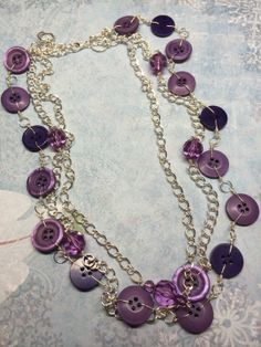 Purple Button Necklace by BornAgainButtons on Etsy, $20.00