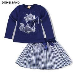 Cheap boutique outfits, Buy Quality set kids directly from China baby clothing boutiques Suppliers: 2017 Fashion domeiland baby clothing Boutique Outfits Sets Kids Girl Long Sleeve cat Cotton Shirts stripe Skirts Bow clothes Toddler Girl Style, Toddler Fashion, Kids Fashion, Baby Outfits, Kids Outfits, Cute Little Girl Dresses, Baby Boutique Clothing, Winter Baby Clothes, Chic Dress