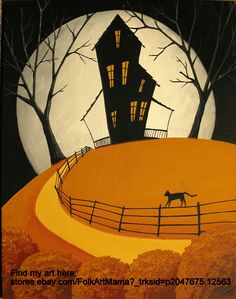 Fall Tree Cat Paintings - The Cats Path - artist folkartmama by Debbie Criswell Halloween Canvas, Halloween Painting, Fall Halloween, Halloween Artwork, Halloween Stuff, Autumn Painting, Autumn Art, Autumn Trees, Halloween Cover Photos