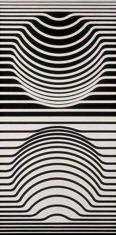 Victor Vasarely Great use of line to create the illusion of depth. A simple rhythm is set up between the mirror images on top and below, the warping in the lines helps create shape and form in the image.