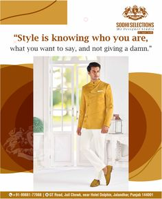 😎✅ Style is knowing who you are, what you want to say, and not giving a damn. 👉To buy the latest and Luxury Men's Wear, Visit Sodhi Selections. #Contact: +91-99881-77088 #Address: GT Road, Near Hotel Dolphin, Jalandhar, Punjab -144001 #designer #ethnicwear #cotton #dress #indianfashion #fashionblogger #india #menswear #mensfashion #clothes #handmade #mensoutfit Luxury Menswear Fashion | Luxury Mens Store | Wedding Suits for Men | Sodhi Selections Best Suits For Men, Cool Suits, Mens Suits, Mens Fashion Quotes, Mens Fashion Wear, Luxury Mens Clothing, Men's Clothing, Mens Wear For Marriage, Mens White Suit
