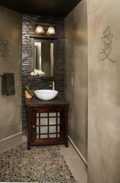 verputzte Wände im asiatischen Bad-Ideen für kreative gestaltung
