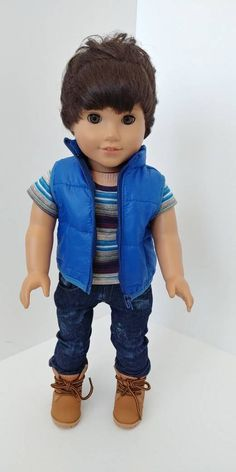 Fits like American girl doll clothes. Boy Doll Clothes, Doll Clothes Patterns, Clothing Patterns, Doll Patterns, American Boy Doll, 18 Inch Boy Doll, Girl Dolls, Ag Dolls, Boy Pictures