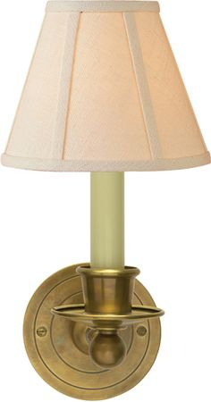 "Classic Single Sconce from Visual Comfort.  Shown in Hand-Rubbed Antique Brass with Off-White Linen shade (also available in Bronze and other finishes).  5""W x 12""H x 9.25""D.  $210 retail"
