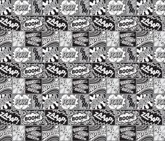 Modern Comic Book Superhero Pattern Black White Grey fabric by seasonofvictory on Spoonflower - custom fabric