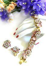 Beautiful Juliana Rose Colored Vintage Flower Design Bracelet and Earrings