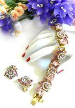 Beautiful Juliana Rose Colored Vintage Flower Design Bracelet and Earrings