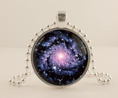 Black hole, Space, Astronomy glass and metal Pendant necklace Jewelry.