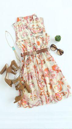Muiticolour Foam Sleeveless Floral Belt Chiffon Dress