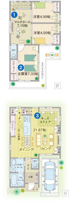 広めのホールと繋げて拡張的にも使える小さめの子供部屋が理想