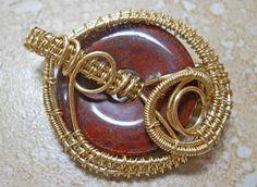 Poppy jasper donut & woven brass craft wire pendant by RaptFyre on Etsy