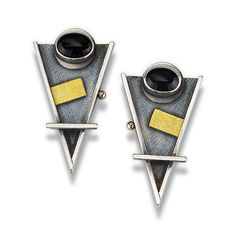 Arrow Earrings with Black Onyx by Michele LeVett: Gold, Silver & Stone Earrings available at www.artfulhome.com