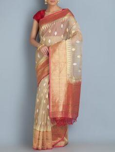 Beige-Red Benarasi Handwoven Kora Silk Saree by Ekaya
