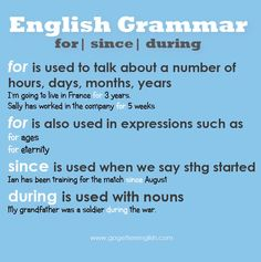 English grammar - For / since / during