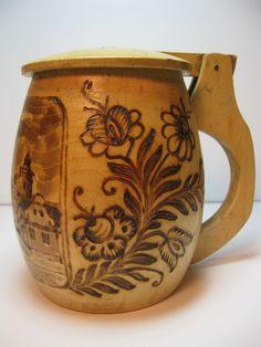 Vintage wooden mug Domazlice Czech Pyrographic Burnt Wood Stein via Etsy