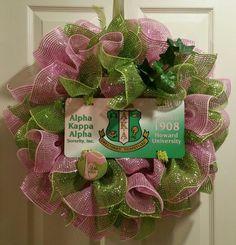Alpha Kappa Alpha Sorority, Inc. Wreath by EJ's Wreaths and Designs