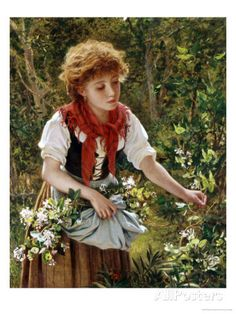 Picking Honeysuckle Giclee Print by Sophie Anderson at AllPosters.com