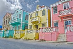Ice Cream colored buildings, Punda, Curacao, Netherlands Antilles