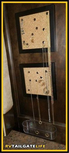 Need a way to keep track of the jewelry in your RV? Make your own DIY jewelry organizer and display for earrings and necklaces, perfect for the RV! Keep Jewelry, Diy Jewelry, Jewelry Box, Jewelry Hanger, Jewelry Stand, Simple Jewelry, Fashion Jewelry, Jewelry Making, Jewelry Drawer