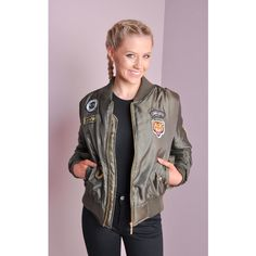LILY LULU FASHION Ma-1 Padded Bomber Jacket With Patch Details Khaki ($46) ❤ liked on Polyvore featuring outerwear, jackets, green, padded jacket, bomber jacket, khaki jacket, flight jacket and flight bomber jacket