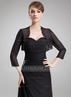 Wraps - $29.99 - 3/4-Length Sleeve Chiffon Special Occasion Wrap (013012275) http://jjshouse.com/3-4-Length-Sleeve-Chiffon-Special-Occasion-Wrap-013012275-g12275?pos=best_selling_items_2
