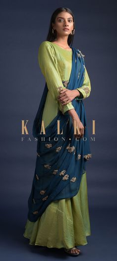 Yellow And Green Two Toned Anarkali Suit With Contrasting Blue Draped Dupatta Online - Kalki Fashion Wedding Salwar Kameez, Blue Drapes, Embellished Belt, Full Sleeves, Yellow Fabric, Anarkali Suits, Dress Designs, Kurtis, Party Wear