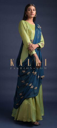 Yellow And Green Two Toned Anarkali Suit With Contrasting Blue Draped Dupatta Online - Kalki Fashion Designer Sarees, Designer Dresses, Wedding Salwar Kameez, Blue Drapes, Embellished Belt, Full Sleeves, Yellow Fabric, Anarkali Suits, Dress Designs