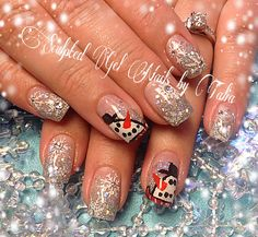 Snowman winter Christmas nail art