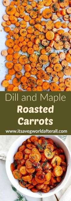 Dill and Maple Roasted Carrots - oven roasted carrots with maple syrup and fresh dill! A healthy vegan side dish with tons of flavor and just five simple ingredients. Perfectly caramelized carrots are Easy Vegetable Side Dishes, Healthy Vegetable Recipes, Healthy Holiday Recipes, Vegan Side Dishes, Vegetable Sides, Vegetarian Recipes, Recipes Dinner, Dill Carrots, Carrots In Oven