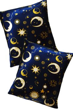Stars and moon pillow case Night sky pillow Blue satin cushion Navy blue Space pillow cover Constelation home decor Celestial home decor Blue Bedroom Decor, Bedroom Themes, Star Bedroom, Bedroom Ideas, Sun Moon Stars, Sun And Stars, Gold Stars, Wiccan Decor, Moon Pillow