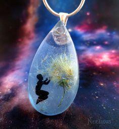 Dandelion Necklace , teardrop, dandelion seeds, magic, make a wish, universe pendant , cosmic necklace, unique , fairy tale charm