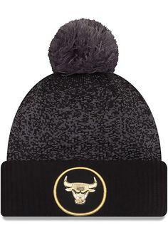 new products 38101 811e4 New Era Chicago Bulls Black NBA17 On Court Mens Knit Hat - 5903540