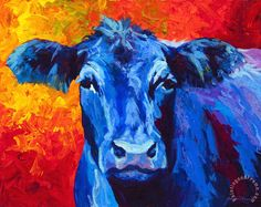 Blue Cow II Painting by Marion Rose