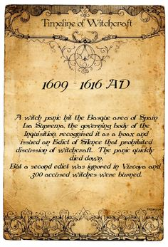 Timeline of Witchcraft 1609 - 1616 AD